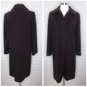 Eileen Fisher Brown Italian Wool Coat Peacoat M
